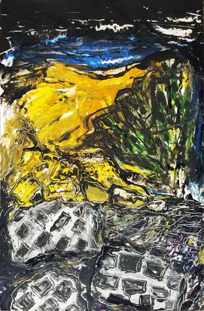Peinture sur affiche expo Riopelle                 Peinture sur affiche expo Riopelle