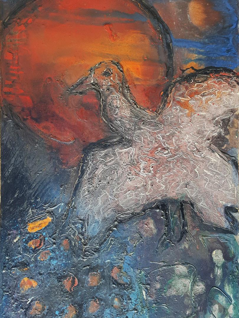 3 Peinture sur affiche expo Riopelle boi