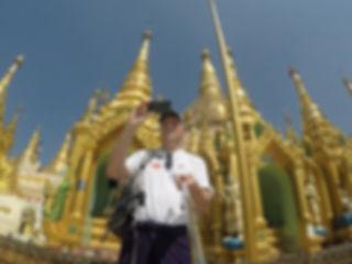 Malcolm Teasdale at Shwedagon Pagoda in Yangon, Myanmar