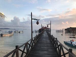 Boat dock ina remote island, Mabul Island, Borneo
