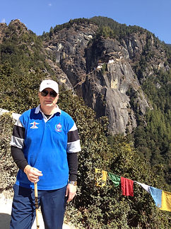 Malcolm Teasdale climbing to Tigers Nest Monastery