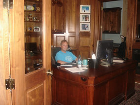 Malcolm Teasdale hard at work in the office