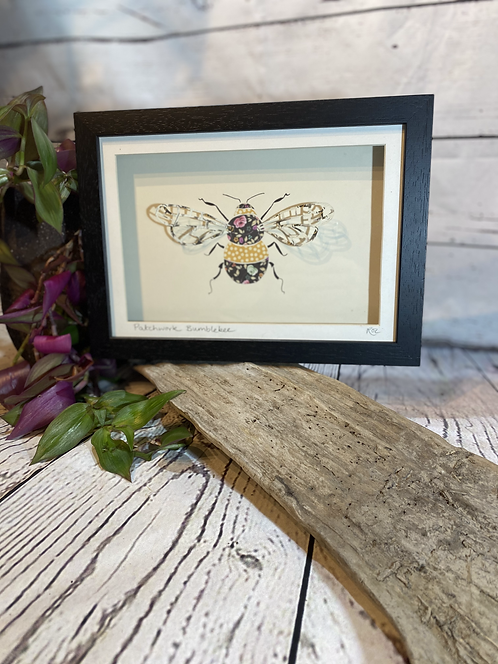 Patchwork Bumblebee 3D Paper-Craft Picture