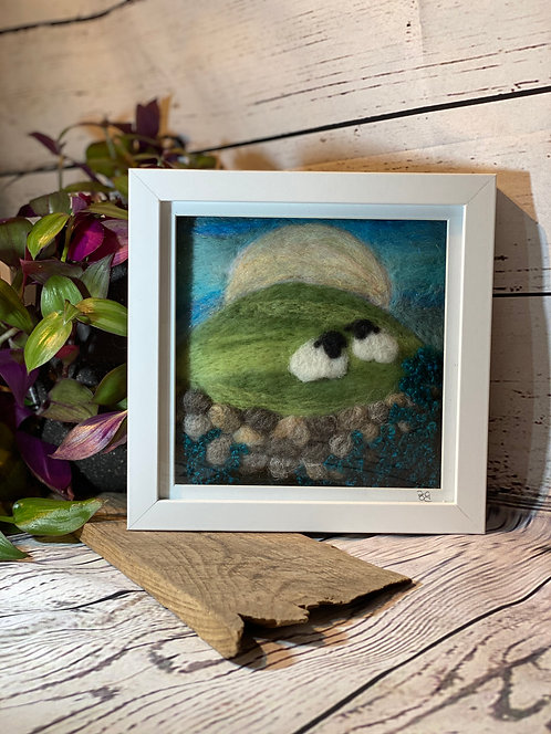 Needle Felted Sheep with Wall & Moon