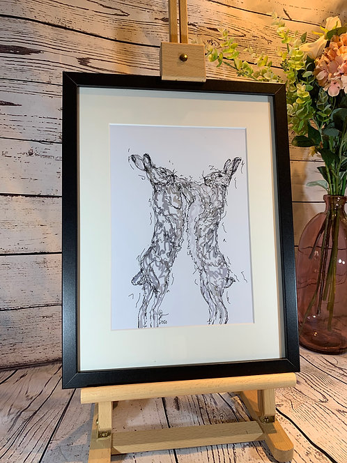 Boxing Hares Limited Edition Print
