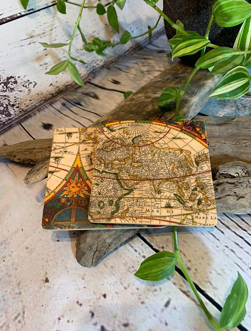 World Map Wooden Coasters