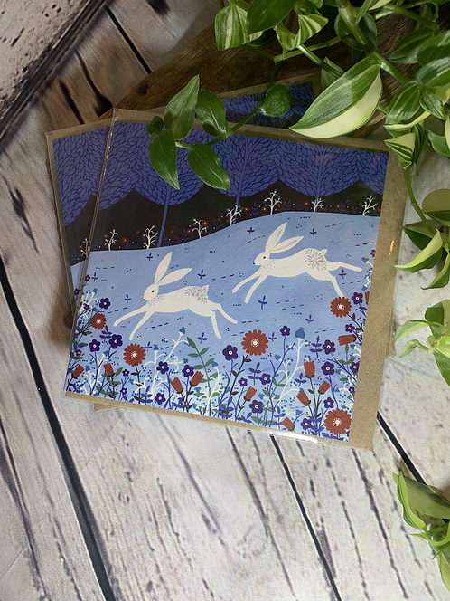 Winter Hares Card
