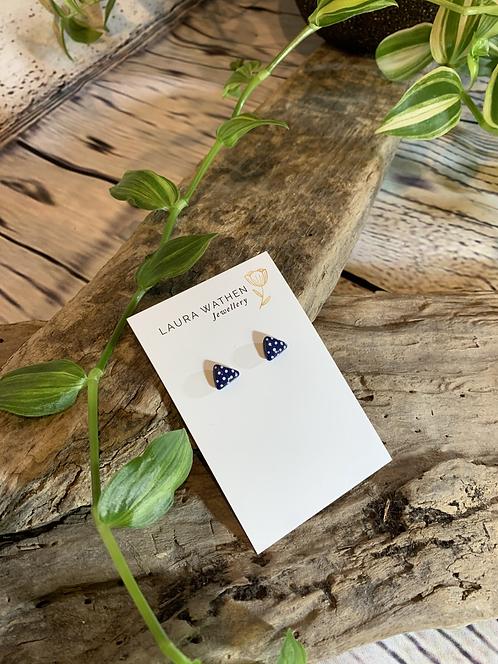 Blue Polkadot Triangle Studs