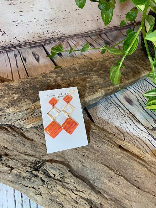 Orange Diamond Funky Earrings