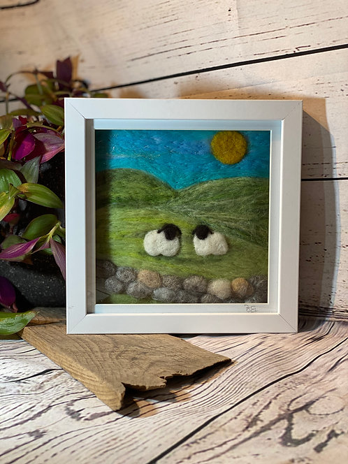 Needle Felted Sheep with Wall