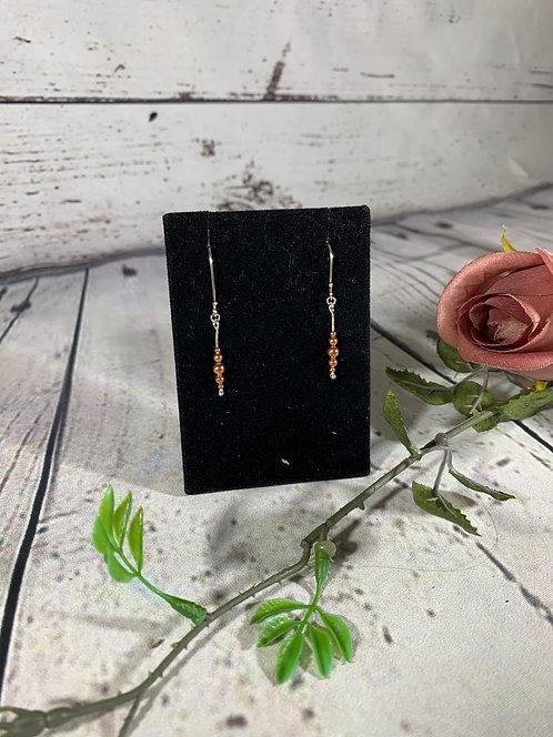 Sterling Silver & Copper Bead Earrings