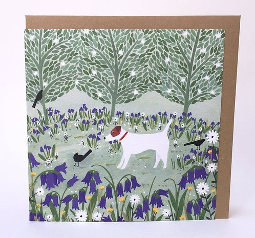 Jack Russell Among Bluebells Greeting Card
