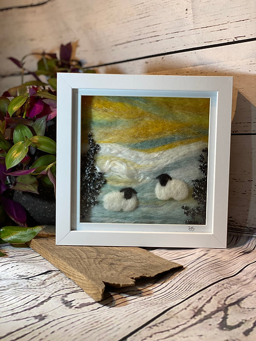 Needle Felted Sheep with Yellow Sky