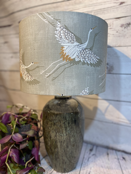 Crane on Grey Linen Lamp Shade