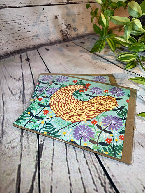 Brown Chicken Among Lilac Flowers Art Card