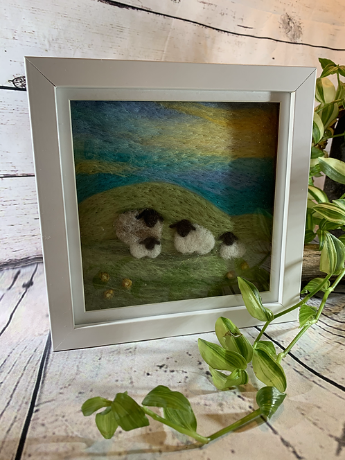 Needle Felted Blue Sky Sheep