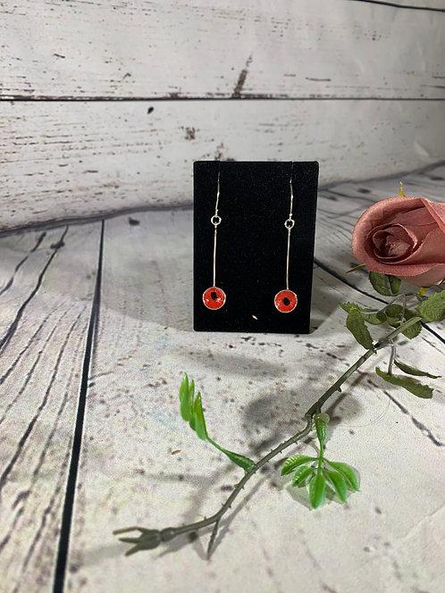 Sterling Silver Poppy Earrings