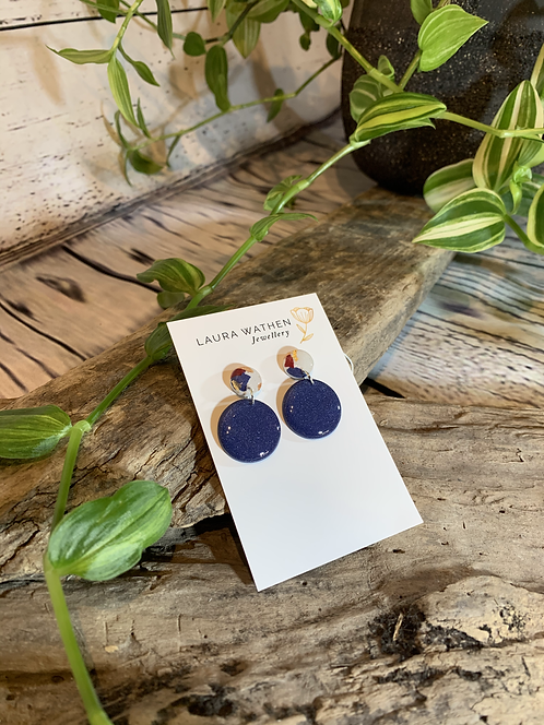 Blue Circle with Marbled Effect Earrings