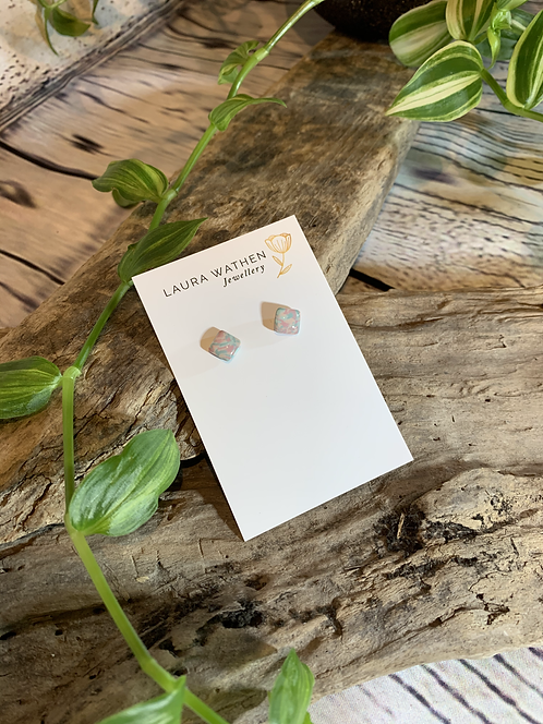 Pastel Marbled Square Studs