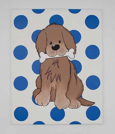 Puppy on Polka Dots (Blue)