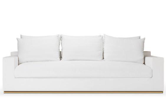 White Linen 3 Seat Sofa