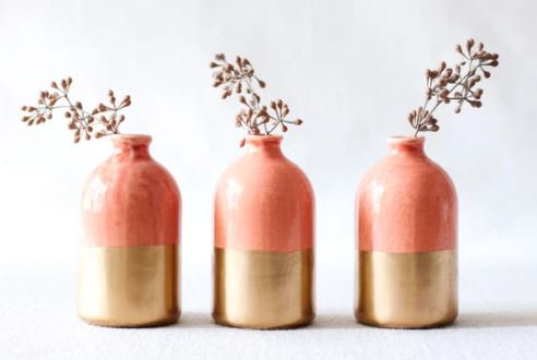 Jar Bud Vase Coral and Gold