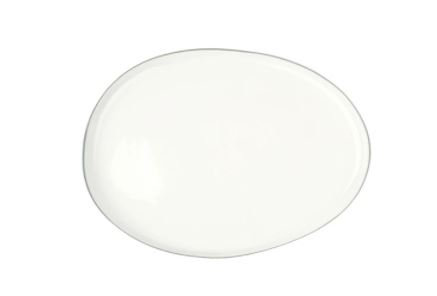 Large White Platter with Grey Trim