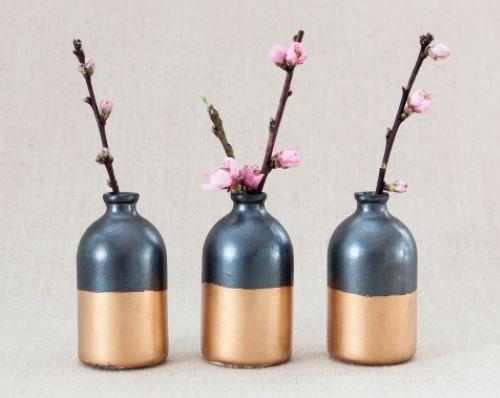 Jar Bud Vase Black and Gold