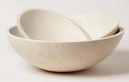 "Crafted Wooden Bowl 12"" in White"