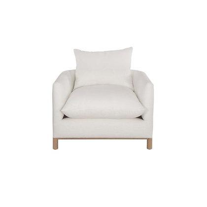 White Linen Arm Chair with Oak Base