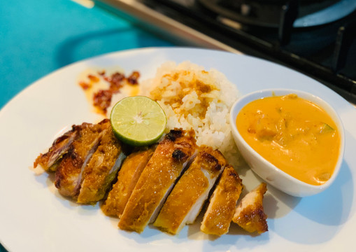 Indonesian Grilled Satay Chicken & Curry Vegetables with Coconut Rice