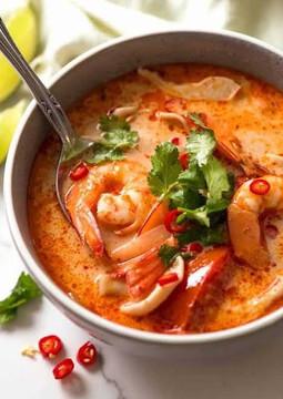 Creamy Tom Yum Seafood Soup