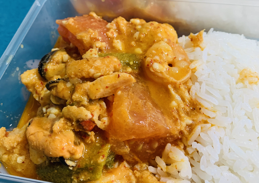 Malaysian Seafood Assam Curry with Coconut Rice