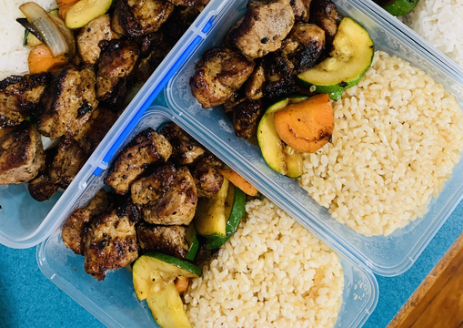 Thai Grilled Pork & Vegetables with Coconut Rice