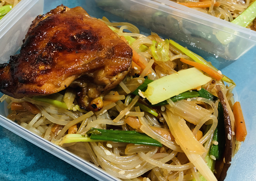Korean Glass Noodles with Grilled Teriyaki Chicken