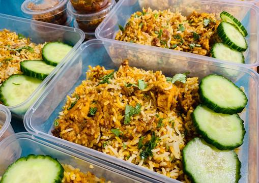 Chicken Tikka Masala Biryani with Pappadum, Raita & Pickles