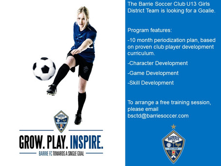 U13 Girls District Team looking for a Goalie