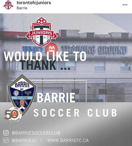 Toronto FC & Barrie Soccer Club Partnership