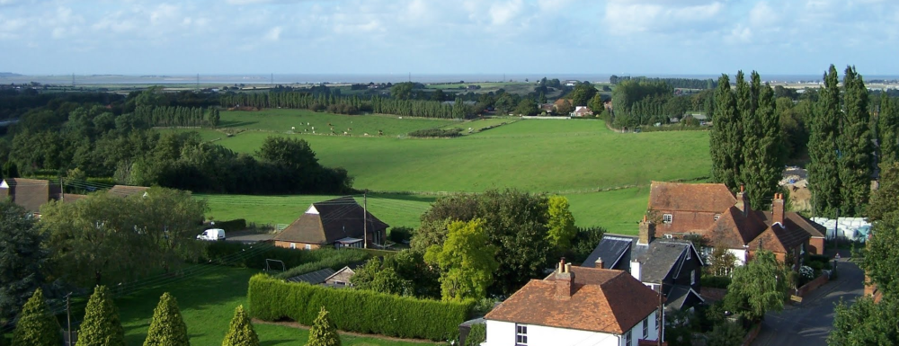 View across Hernhill from the church