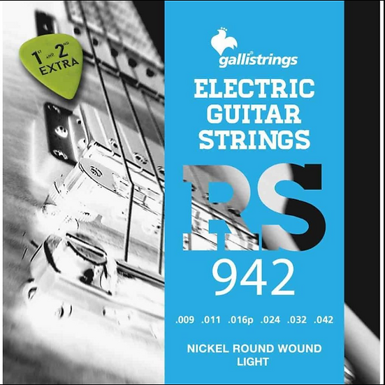 Electric guitarstrings, 009 – 042, Light with 2 extra strings & pick