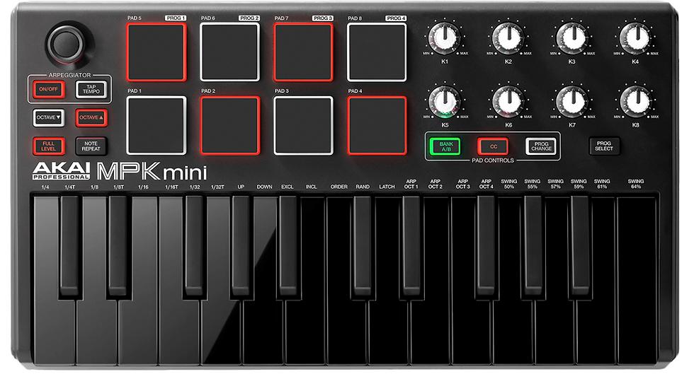 AKAI - MPK MINI MKII Black, Clavier Maître USB 25 mini notes 8 pads