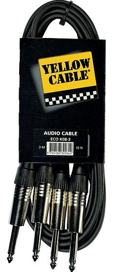 Yellow Cable - ECO K08-3, 2 jacks mono mâle/2 jacks mono mâle 3m