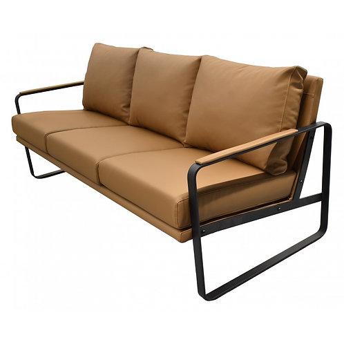 Sofá 3 plazas, piel regenerada marrón vintage