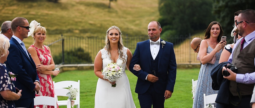 Bride and dad at kingscote barn | West Sussex Videographer