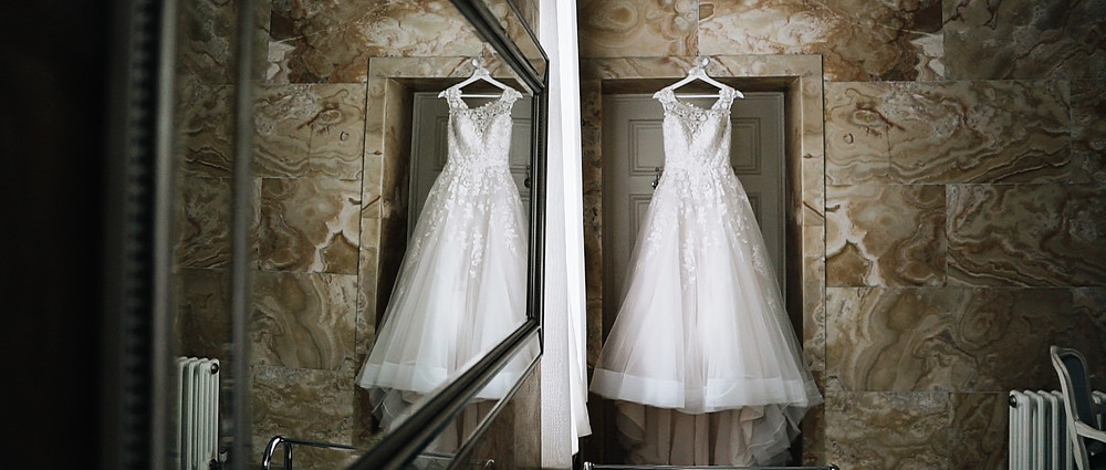 wedding dress at hedsor house | West sussex wedding videographer
