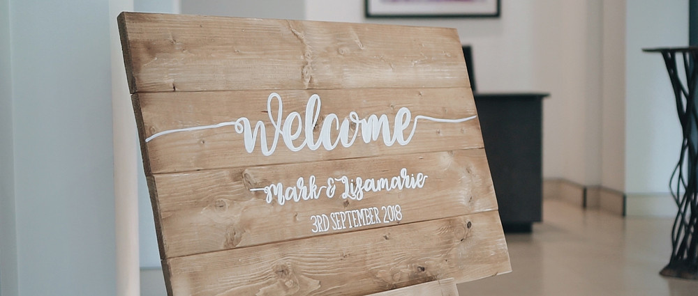 Welcome Sign at The Grove London | Wedding venue