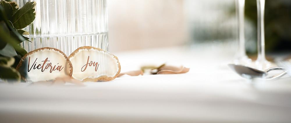 Table names at Millbridge Court | West Sussex Wedding Videographer