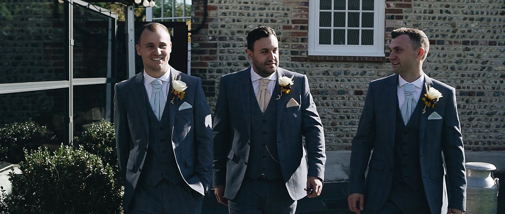 Groom and Groomsmen | Southend Barns wedding video