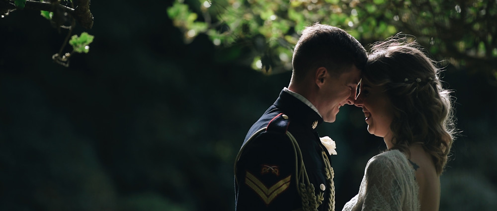 bride and groom back light | West Sussex wedding videographer | Ground Films