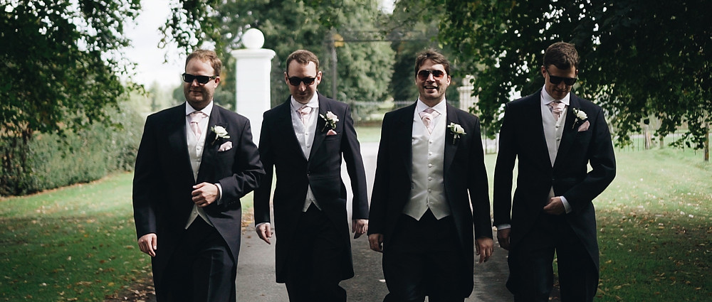 groom and groomsmen | Avington Park wedding videographer